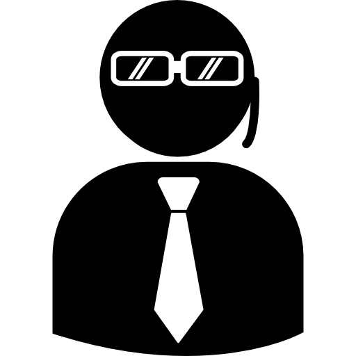 Security Agent With Earpiece Wearing Suit And Tie Icon Humans