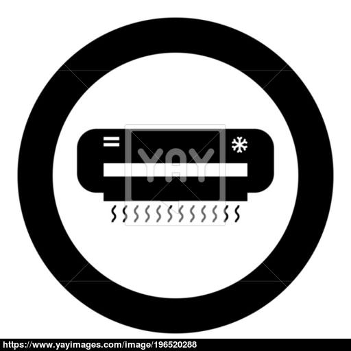 Air Conditioner Icon Black Color In Circle Vector