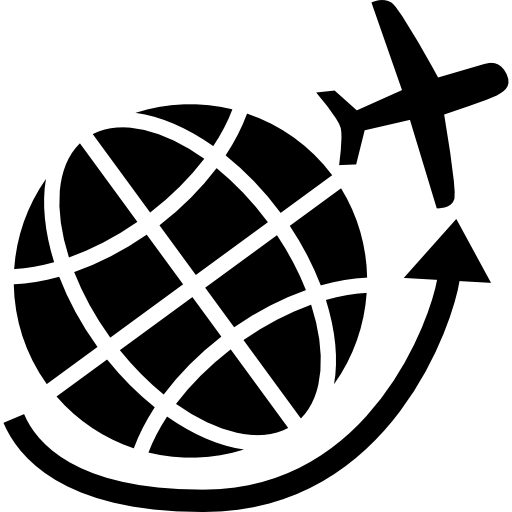 Airplane Flying Around Earth Grid Icons Free Download
