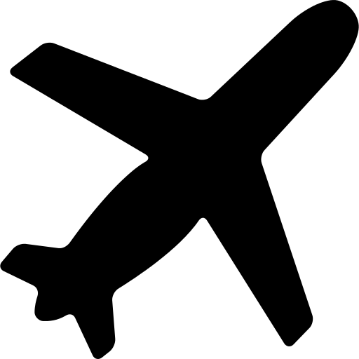 Airplane Black Shape Ascending Rotated To Right Png Icon