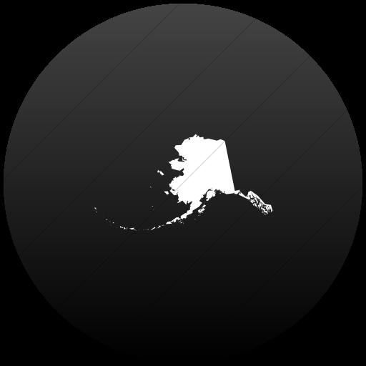 Flat Circle White On Black Gradient Us States Alaska Icon