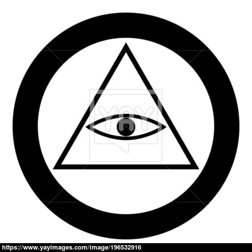 All Seeing Eye Symbol Icon Black Color In Circle Or Round Vector