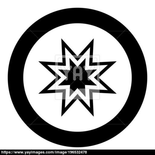 Trendy Retro Star Icon Black Color In Circle Or Round Vector