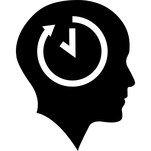 Bald Head With Time Symbol Inside Icons Free Download
