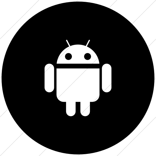 Flat Circle White On Black Social Media Android Icon