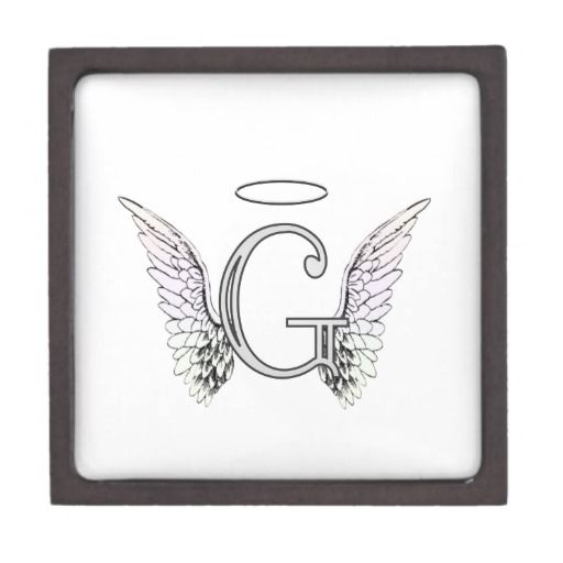 Letter G Initial Monogram With Angel Wings Halo Keepsake Box