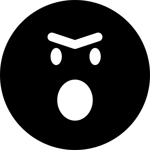 Angry Emoticon Face With Opened Mouth In Rounded Square Outline