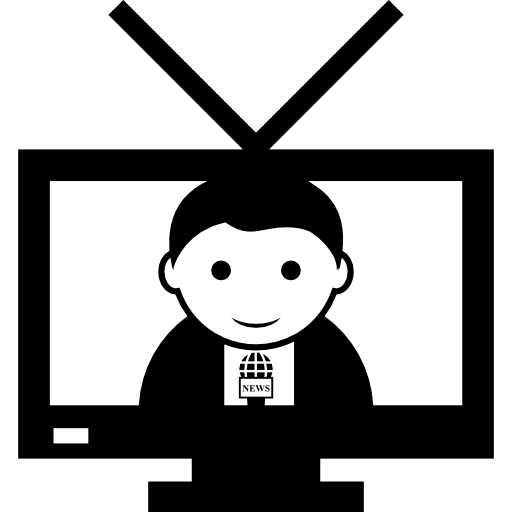 News Reporter On Television Screen Icons Free Download