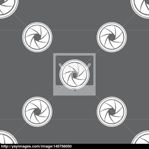 Diaphragm Icon Aperture Sign Seamless Pattern On A Gray