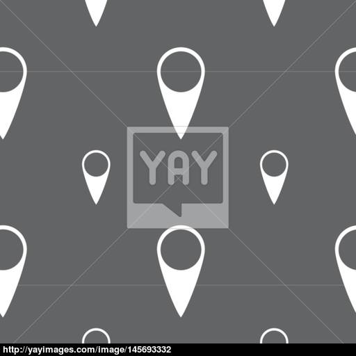 Map Pointer Icon Gps Location Symbol Seamless Pattern On A Gray