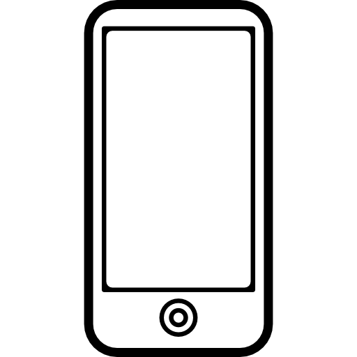 Mobile Phone With Big Screen And Just One Button On Front Icons