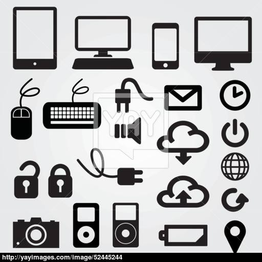 Set App Computer, Phone, Cloud Icons Vector