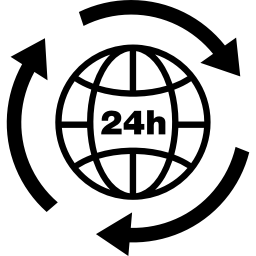 Hours Earth Grid Symbol With Arrows Circle Around Icons Free