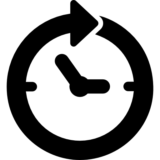 Circular Clock With Clockwise Arrow Around Icons Free Download