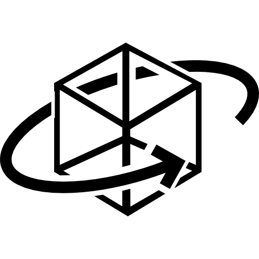 Printed Cube With Circular Arrow Around