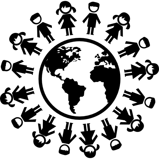 Earth With Children Ring Around Icons Free Download