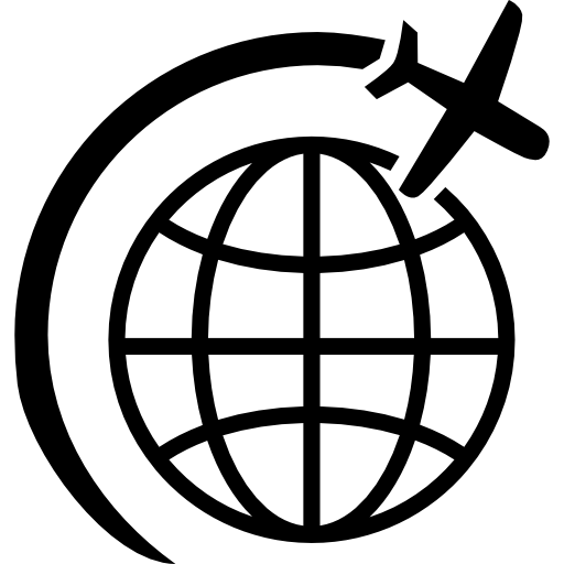Airplane Flight In Circle Around Earth Icons Free Download
