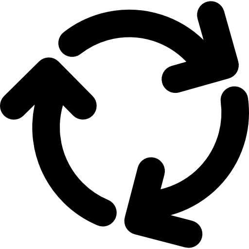 Three Arrows Circle Rotating In Clockwise Direction Icons Free