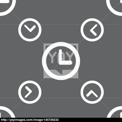 Clock Sign Icon Mechanical Clock Symbol Seamless Pattern