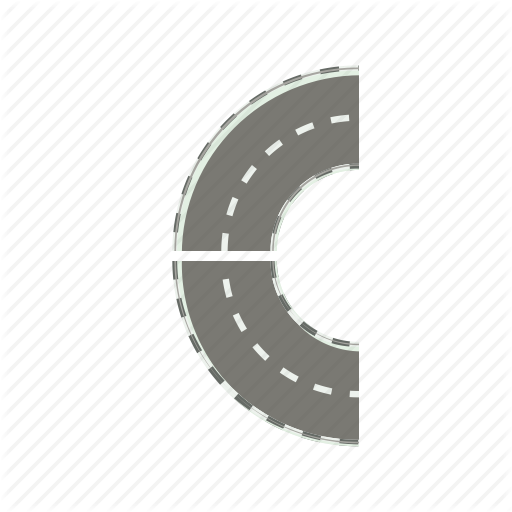 Asphalt, Cartoon, Curve, Highway, Road, Round, Transportation Icon