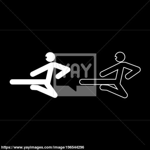 Ninja With Kick Stick Icon Set White Color Illustration Flat Style