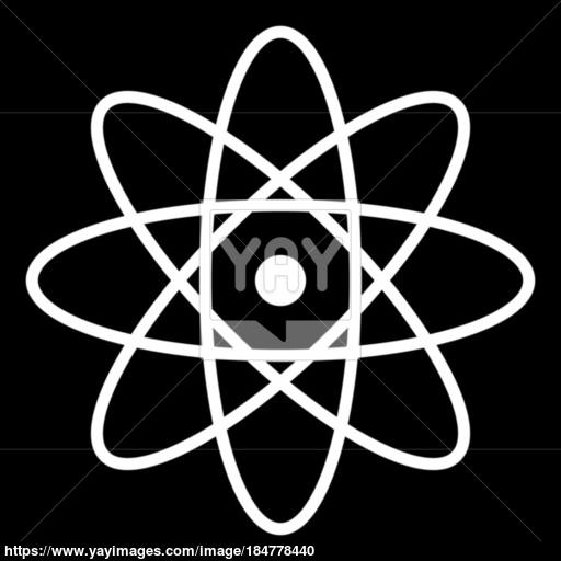 Atom The White Color Icon Vector