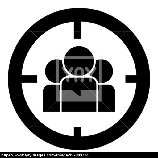People In Target Or Target Audience Icon Black Color Illustration