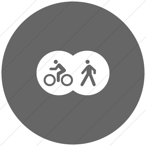 Flat Circle White On Gray Iconathon Shared Bike Path Icon