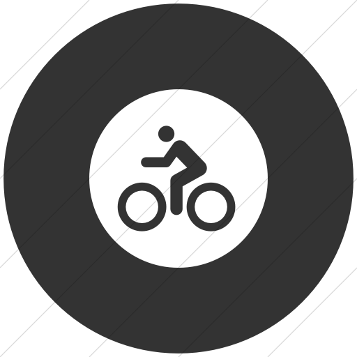 Flat Circle White On Dark Gray Iconathon Bike Path Icon