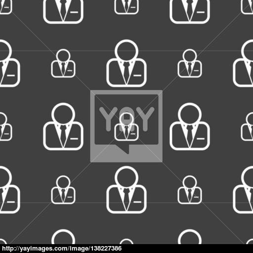 Avatar Icon Sign Seamless Pattern On A Gray Background Vector