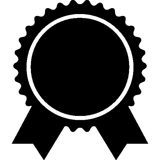 Award Badge Of Circular Shape With Ribbon Tails Icons Free Download