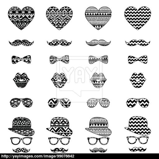Hipster Vintage Icon With Aztec Pattern Background Vector