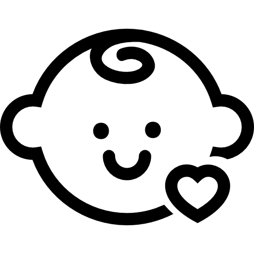 Baby Head With A Small Heart Outline Icons Free Download