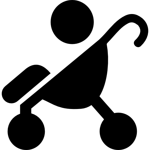 Baby On Stroller Side View Silhouette Icons Free Download