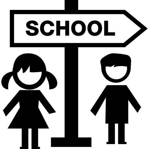 School Signal And Children Icons Free Download