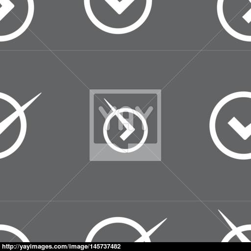Check Mark Sign Icon Checkbox Button Seamless Pattern On A Gray