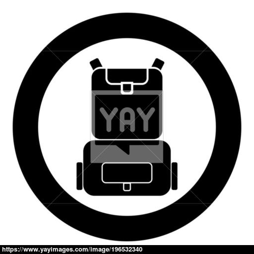 Backpack Icon Black Color In Circle Or Round Vector