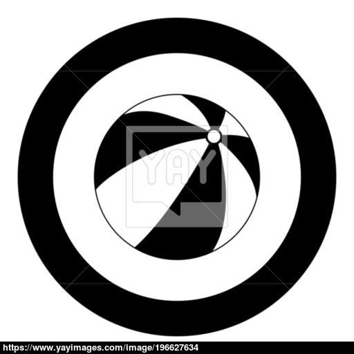 Children's Ball Icon Black Color In Circle Vector
