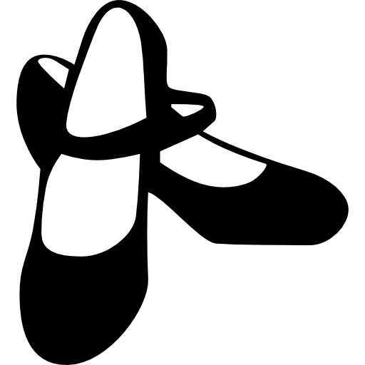Flamenco Female Black Shoes Icons Free Download