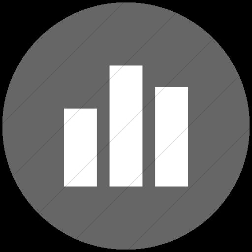 Flat Circle White On Gray Raphael Bar Chart Icon
