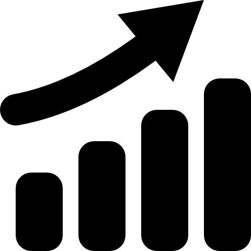 Rising Bar Graph With Arrow Up Icons Free Download