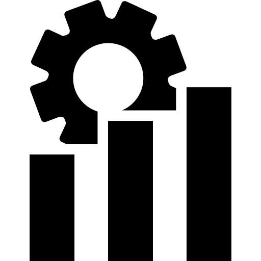 Rising Bar Graph With Cogwheel Icons Free Download