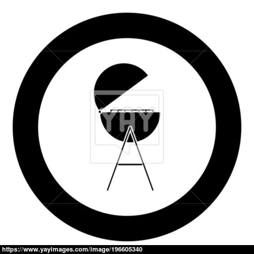 Barbecue Or Grill Black Icon In Circle Vector Illustration