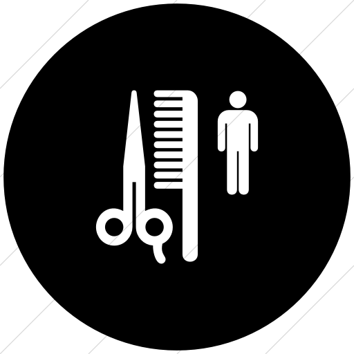 Flat Circle White On Black Aiga Barber Shop Icon