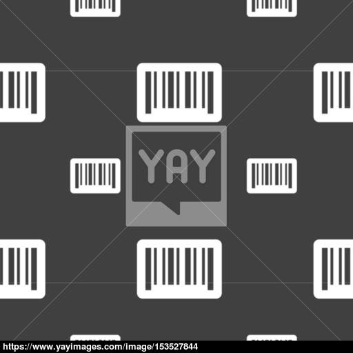 Barcode Icon Sign Seamless Pattern On A Gray Background Vector