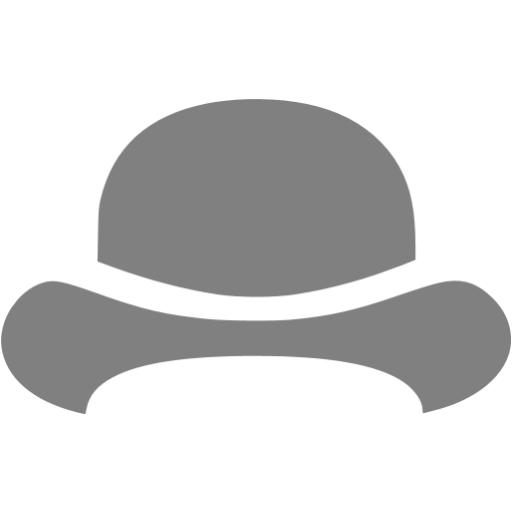 Gray Bowler Hat Icon
