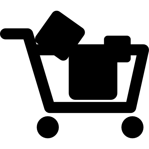 Shopping Cart With Objects Inside Icons Free Download