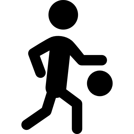 Basketball Player Silhouette With The Ball Icons Free Download