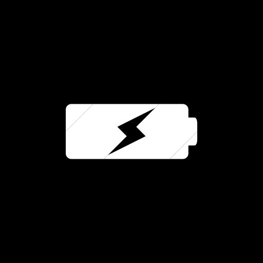 Flat Circle White On Black Raphael Battery Charging Icon