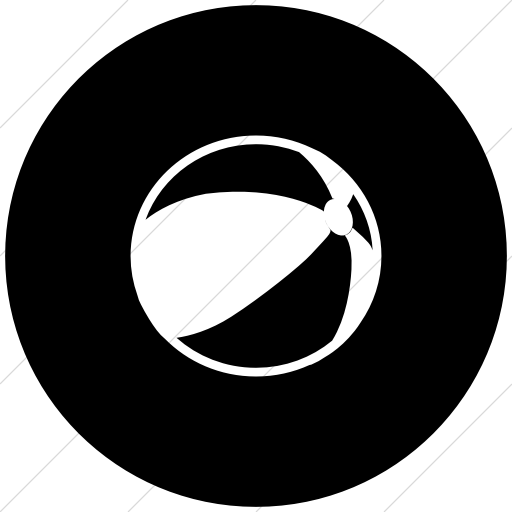 Flat Circle White On Black Classica Beach Ball Icon